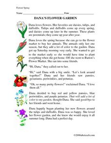 Dana's Flower Garden Worksheet