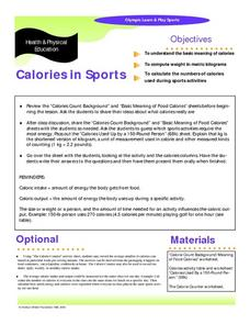 Calories in Sports Graphic Organizer