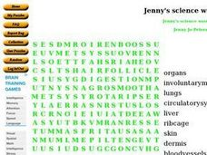 Jenny's Science Wordsearch Worksheet