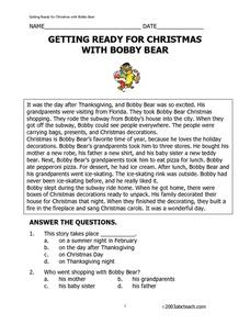 Getting Ready for Christmas with Bobby Bear Worksheet