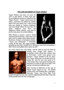 The Life And Death of Tupac Shakur Lesson Plan