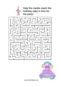 Birthday Cake And Candle Maze Worksheet