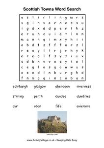 Scottish Towns Word Search Worksheet