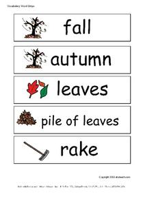 Vocabulary Word Strips Worksheet