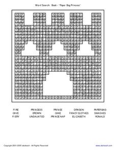 Word Search The Paper Bag Princess Worksheet
