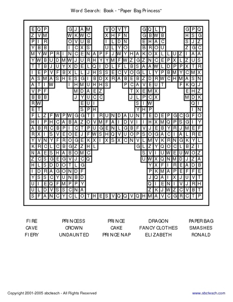 word search the paper bag princess worksheet for 2nd 3rd grade lesson planet. Black Bedroom Furniture Sets. Home Design Ideas
