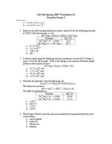Chemistry Practice Exam Worksheet