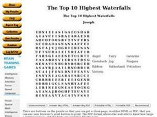 The Top 10 Highest Waterfalls Worksheet