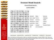 Everest Word Search Worksheet