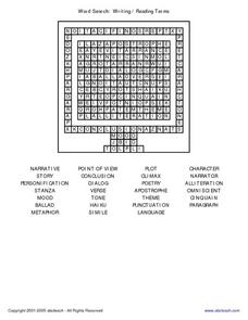 Word Search: Writing/Reading Terms Worksheet