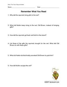 The Tale of Squirrel Nutkin: Reading Comprehension Packet Worksheet
