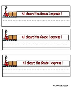 All Aboard the Grade 1 Express! Worksheet
