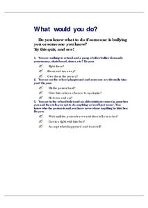 Bully Quiz- What Would You Do? Lesson Plan