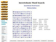 Invertebrate Word Search Worksheet