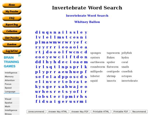 Invertebrate Word Search 8th 9th Grade Worksheet – Invertebrate Worksheet
