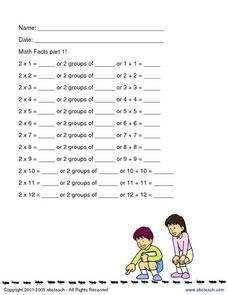 Math Facts Part 1: Multiplication Groups of 2 Worksheet