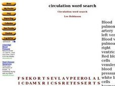 Circulation Word Search Worksheet