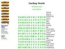 Surfing Words Word Search Worksheet