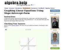 Graphing Linear Equations Using Slope-Intercept-Form Worksheet