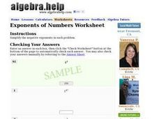 Exponents of Numbers Worksheet Worksheet