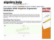 Variables With Negative Exponents Worksheet Worksheet