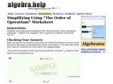 "Simplifying Using ""The Order of Operations"" Worksheet Worksheet"