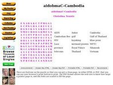 Cambodia Word Search Worksheet