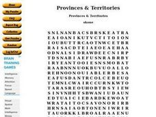 Provinces & Territories Word Search Worksheet