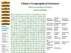 China's Geographical Features Word Search Worksheet