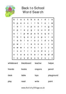 Harder Back to School Word Search Worksheet