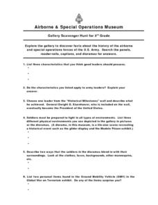 Airborne & Special Operations Museum Gallery Scavenger Hunt for 3rd Grade Worksheet