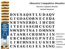 Obsessive Compulsive Disorder Word Search Worksheet