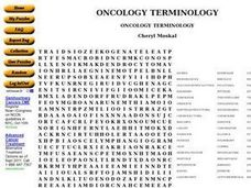 Oncology Terminology Word Search Worksheet
