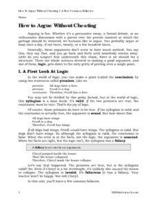 How To Argue Without Cheating Worksheet