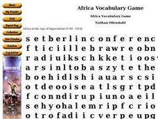 Africa Vocabulary Game Worksheet