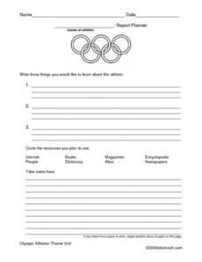 Olympic Report Planner Lesson Plan