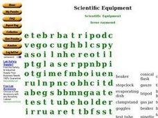 Scientific Equipment Word Search Worksheet