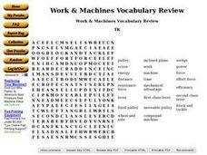 Word & Machines Vocabulary Review Word Search Worksheet
