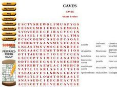 Caves Word Search Worksheet
