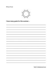 Summer Goals Worksheet