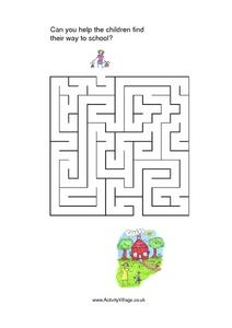 CAN YOU HELP THE CHILDREN FIND THEIR WAY TO SCHOOL?-SIMPLE Worksheet