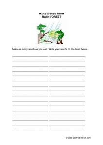 Plant Life in the Rain Forest Worksheet
