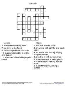 Crossword: Afternoon on the Amazon Lesson Plan