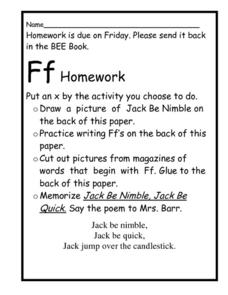 Homework- The Letter F Worksheet