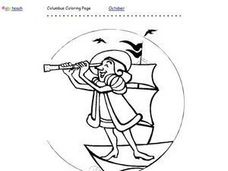Columbus Coloring Page Worksheet
