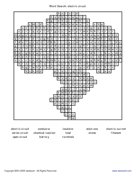 Word Search: Electric Circuit Worksheet for 3rd - 4th Grade | Lesson ...