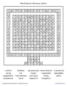 Word Search: Character Counts Worksheet
