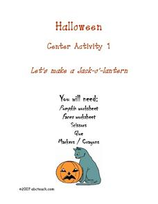 Halloween Center Activity Lesson Plan