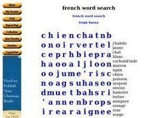 French Word Search Worksheet