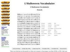 L'Halloween Vocabulaire Worksheet